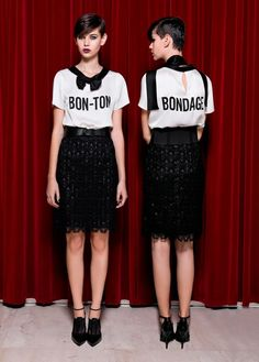 Moschino Cheap and Chic pre-collection Fall/Winter 2013: Bon-Ton Bondage! http://www.moschinoboutique.com/item/c/405/mm/11279/cod10/38324520LF/gender/D/season/secondary #moschino #cheapandchic #bonton #bondage #blouse