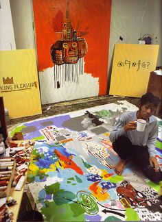 it looks like Basquiat hadn't left the house in days when this pic was taken. i can completely relate.