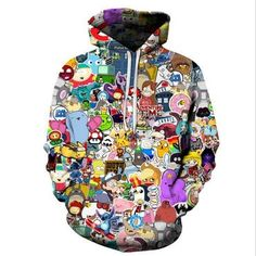 Harajuku Anime Cartoon Hoodies Adventure Time Totoro Pokemon Kawaii Clothes  3D Hooded Sweatshirt Sudaderasliilgal a345aa13a557