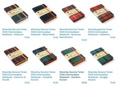 Spotted at Kinokuniya bookstore in NYC: I haven't seen these for sale anywhere else, but they're made by a UK company: Waverley Books. Two sizes are availab… Scottish Plaid, Tartan, Notebooks, Stationary, Notebook, Plaid, Laptops