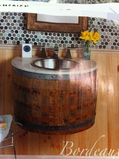 - Olivia Mullin -Using a barrel as a sink, this is a method of creative recycling. - I love it this could look really chic in a modernised property. Home Crafts, Home Projects, Barrel Sink, Green Business, Recycled Crafts, Small Space, My Dream Home, Cool Furniture, Man Cave