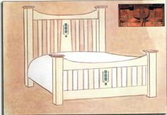 Charles Rennie CR Mackintosh wooden bed, wardrobe & bedroom furniture