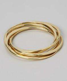 Look what I found on #zulily! Gold Five-Piece Intertwined Bangle Set #zulilyfinds