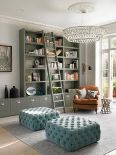 Like the ladder for office above the bath & closet or in the mudroom for tall shelves