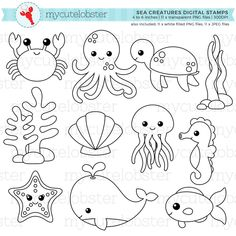 Sea Creatures Digital Stamps outlines line art crabSlikovni rezultat za sea animals clipart black and whiteFor sea creature collage. Cut out in black paper.