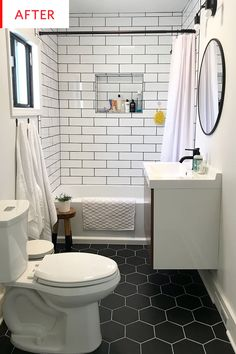 Before And After Someone Pulled Off A 6k Bathroom Reno In 5 Days Black Hexagonal Floor Tiles