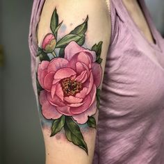 did this beautiful peony last week at the shop and would LOVE to do a couple of floral pieces on her stop at Tattoos Skull, Rose Tattoos, Body Art Tattoos, Sleeve Tattoos, Pink Tattoos, Tatoos, 1 Tattoo, Back Tattoo, Pretty Tattoos