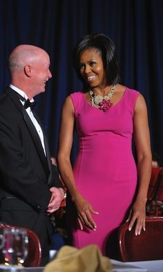The First Lady wore a fuschia Michael Kors body-hugging dress to the 2009 White House Correspondents Dinner.