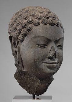 Head of a Buddha, second half of 6th century.  Angkor Borei, Cambodia.  Stone
