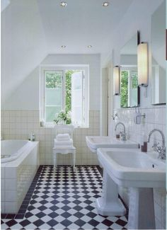 NeoClassica basin & pedestal / retro floor / essenze wall tiles / Savoy mirror / Bistrot taps for Marianne Tromborg by AQUADOMO