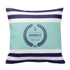 Personalized Nautical Family Crest Stripe Pattern Pillows