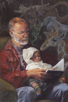 """""""G is for Giraffe"""" My husband and our grandson. From my last show."""