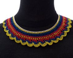 Hand Crochet Statement Necklace on silver plated chain link FREE P&P