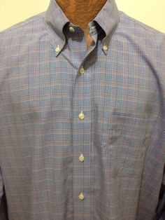 Brooks Brothers Blue Plaid Long-Sleeve Cotton Button-Down Shirt 17 - 37 Non-Iron #BrooksBrothers