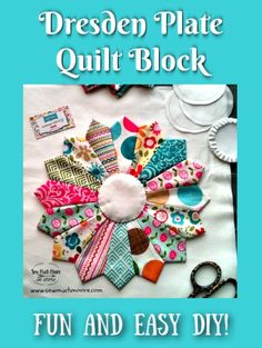 The Dresden Plate Quilt Block is a fun and easy block to make with either pre-cut squares or even using your own fabric scraps! Quilt Block Patterns 12 Inch, Dresden Plate Patterns, Dresden Plate Quilts, Easy Quilt Patterns, Pattern Blocks, Quilt Blocks, Sewing Patterns, Patchwork Patterns, Quilting Rulers
