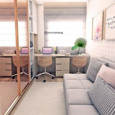 Home office quarto pequeno ideas for 2019 Home Office Closet, Guest Room Office, Diy Home Decor Bedroom, Small Room Bedroom, Small Rooms, Small Spaces, Home Office Design, Home Office Decor, Office Setup