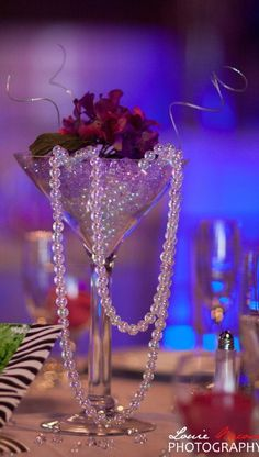 Pearls and roses in a smoked or black martini glass centerpieces Martini Glass Centerpiece, Glass Centerpieces, Wedding Centerpieces, Wedding Table, Wedding Decorations, Table Decorations, Wedding Ideas, Deco Rose, Deco Floral