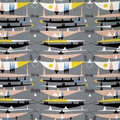 Raimoult, furnishing textile 1954 by Robert Stewart Graphic Design Print, Modern Graphic Design, Textile Design, Fabric Design, Textile Patterns, Home Furnishing Accessories, Retro Fabric, Mid Century Modern Decor