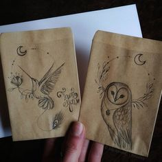 Pencil drawings on kraft paper envelopes ✨ Which one is your favorite?🤗