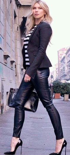 thats sexy leather and stilettos and walk like you own it...