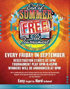 This promotion is over. Check out www.ziaparkcasino... for our current promotions!) END OF SUMMER FREE SLOT TOURNAMENT! Every Friday in September  guests will have a chance to win up to $500 in FREE SlotPlay!! Registration is at 5pm, round play is from 6-8:45pm and prizes will be awarded at 9pm. For more information visit http://www.ziaparkcasino.com/Promotions #promotions #SlotTournament #September #2015