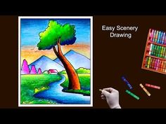 Easy Scenery Drawing by Oil Pastel step by step Landscape Drawing For Kids, Scenery Drawing For Kids, Landscape Drawings, Oil Pastel Colours, Oil Pastels, Art Lessons For Kids, Art For Kids, Ganesha Painting, Pastel Drawing