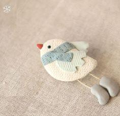 Snow birdy. Brooch
