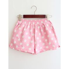 SheIn(sheinside) Pink Elastic Waist Polka Dot Denim Shorts ($16) ❤ liked on Polyvore