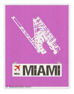 Fly me to Miami MIA - World Traveler Series Miami Florida International Airport Code Runway Map Art Print Poster