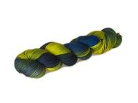 Wellensittichvogelfeder; (Intensity: Medium)   Budgerigar feather: dove-coloured blue yellow and green