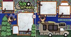 RV-CAMPING-FUN-ON-WHEELS-2-premade-scrapbook-pages-paper-piecing-layout-CHERRY