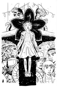 Stranger Things Cover 2 Unscanned by KR-Whalen on DeviantArt Stranger Things Funny, Eleven Stranger Things, Stranger Things Netflix, Lettering Tutorial, Creepy Art, Cultura Pop, Cute Drawings, Collage Art, Coloring Pages