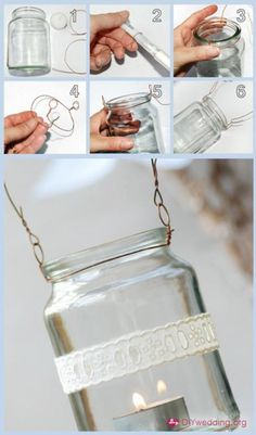 How to hang mason jars with wire. There are so many crafts with mason jars on Pintrest, I guess I should learn how to hang them. Diy Wedding Projects, Easy Diy Projects, Craft Projects, Outdoor Projects, Garden Projects, Crochet Projects, Garden Tools, Craft Ideas, Decor Ideas