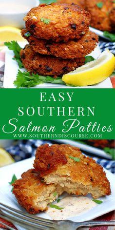 Salmon Recipes, Fish Recipes, Seafood Recipes, Great Recipes, Cooking Recipes, Favorite Recipes, Fried Salmon Patties, Salmon Croquettes, Simple Salmon Patties Recipe
