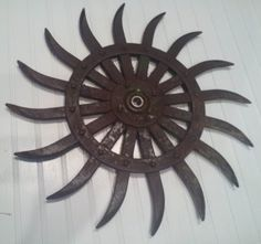 Vintage Farm Industrial Tine Gear Wheel by ThePigsMeow on Etsy, $45.00