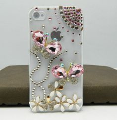 iphone case  3D flowers Butterfly  case  iPhone 4 by dnnayding, $25.99