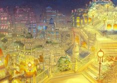 Tags: Anime, City, Roof, Scenery, Stairs, Lamp, Munashichi