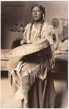 TAOS Pueblo Indian, Taos, New Mexico, c.1920-1930s. Real Photo Postcard edited c.1925-1940s.