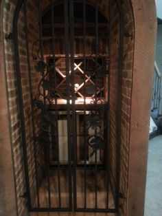 Wine cellar, iron gate doors.
