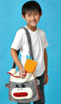 Crochet Sock Monkey Shoulder Bag - Craftfoxes