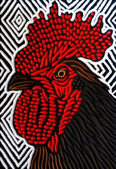 """Rooster   painted woodcut block on salvaged Birch 7.5"""" x 11""""…   Flickr"""