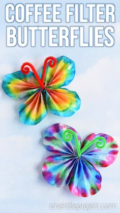 These coffee filter butterflies are so easy to make and they look so beautiful! This is such a great craft idea for kids and such a fun low mess activity! day crafts for kids jesus Coffee Filter Butterflies Spring Crafts For Kids, Art For Kids, Kids Fun, Creative Ideas For Kids, Spring Crafts For Preschoolers, Art Activities For Preschoolers, Painting Ideas For Kids, Crafts For 3 Year Olds, Elderly Activities