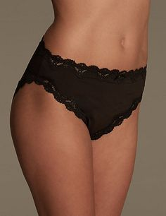 Cut-Out Lace High Leg Knickers | M&S