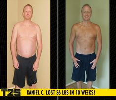 "Daniel C. lost 36 lbs in 10 weeks of Focus T25!    ""I went beyond my goals! I lost more weight in the first month than I had planned to lose during the whole program!"""