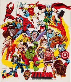 "thebristolboard:  Marvel Comics'""Titans"" European poster by John Buscema and Joe Sinnott, 1975."