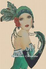 Cross Stitch Chart ART DECO LADY IN GREEN DRESS -  No. 23vc-110 (Large Print)