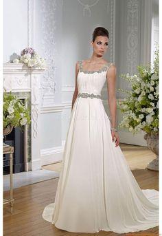 Scoop-nack A-linie Bodenlang Schlichte Günstige Brautkleider aus Chiffon mit Perlenstickerei