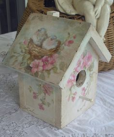 Bluebirds and Roses Birdhouse with Pearl Perch--I have 1 that needs to be repainted