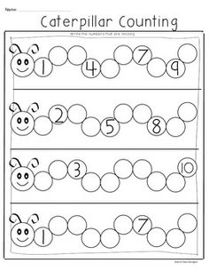Teaching kindergarten math caterpillar counting freebie common core math for kindergarten teaching strategies kindergarten math . Kindergarten Math Worksheets, Teaching Kindergarten, Preschool Learning, Preschool Activities, Printable Preschool Worksheets, Preschool Writing, Math Math, Tracing Worksheets, Free Printables