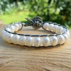 Freshwater pearl bracelet, Bead bracelet women, Leather pearl bracelet, Jewelry handmade, White freshwater pearl bracelet, Wrap bracelet by ArmellaMeaJewelry on Etsy
